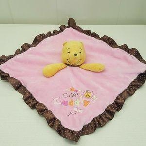 Winnie Pooh Lovey Security Baby Blanket Rattle
